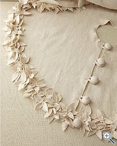 Linen tree skirt with embellishment- beautiful!