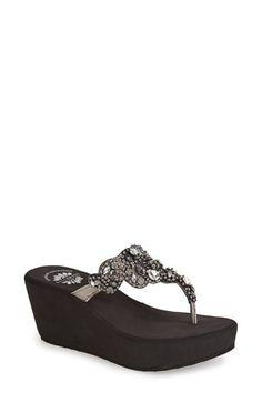 Yellowbox 'Katelyn' Crystal Embellished Wedge Sandal (Women)