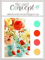 cardmaking challenge: The Card Concept 49 ... hot colors for flowers in cool aqua vases ...