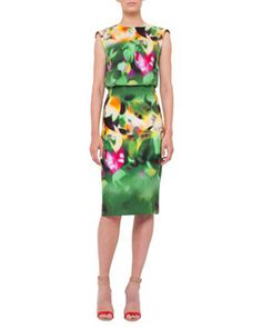 Sleeveless Grand-Hedge-Print Sheath Dress, Multi Colors by Akris at Neiman Marcus.