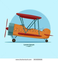 cartoon airplane, for your design, color vector illustration - stock vector