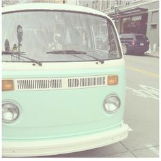 #seafoam green VW van - CUTE. #douglas #mint