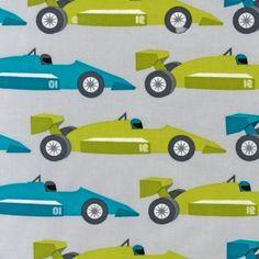 Robert Kaufman Fabric Race Cars in Sky Boy by fancypantsfabric, $8.50