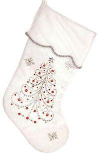"19"" White Jeweled Tree Stocking"