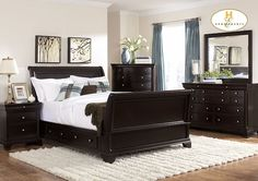 Dark Bedroom Set with Storage Sleigh Bed. Nice Affordable Furniture!