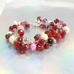 Handmade bracelet red pink AB crystals faux pearls chain sz 7 up Pat2 #Pat2 #clusterchain
