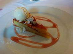 Almond and pear tart, cardamom ice cream