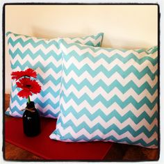 Blue chevron cushions by Avie Designs https://www.facebook.com/pages/Avie-Designs/230829420318168
