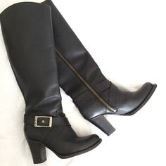 """FRYE black vintage knee high zip heeled boot 6 Beautiful boots in great vintage condition. Lots of life left! Chunky heel with inside full zip for easy on and off. Buckle detail around the ankles. Minor scuffs pictured at the toes and heels. Size 6, 3.25"""" heel, 14.5"""" shaft height (at the back of the knee). Bundle to save 25%! Frye Shoes Heeled Boots"""