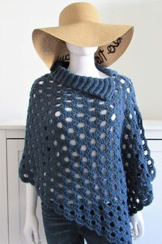 Try this gorgeous crochet cover up pattern that is beginner friendly. The tutorial is easy and the poncho works up in a few hours. It will make a great layering piece over any outfit for spring and summer.