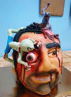 zombie cake ideas for halloween party ideas. or just for a gander at the coolest zombie cakes! Halloween Torte, Masque Halloween, Halloween Wedding Cakes, Halloween Wedding Invitations, Theme Halloween, Halloween Decorations, Creepy Halloween, Halloween Stuff, Happy Halloween