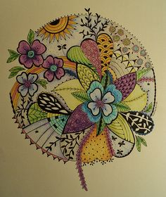 "Flower zendala- something like this filled with all things ""dad"" Tangle Doodle, Tangle Art, Doodles Zentangles, Zen Doodle, Zentangle Patterns, Doodle Art, 3d Quilling, Zen Art, Doodle Drawings"