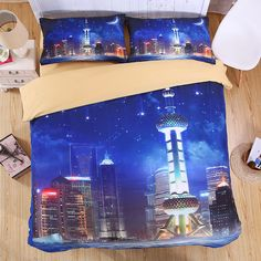 night sky city 3D Bedding Set Print Duvet cover sets Twin queen king Beautiful pattern Real effect  bedclothes bed linen