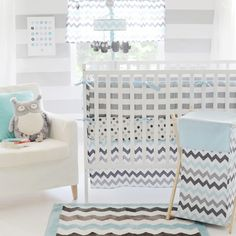 Rosenberry Rooms has everything imaginable for your child's room! Share the news and get $20 Off  your purchase! (*Minimum purchase required.) Chevron Baby Crib Bedding Set in Aqua