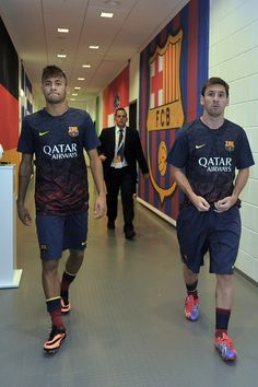 Lionel Messi and Neymar walk down the players tunnel during a Pre Season Friendly match between Lechia Gdansk and FC Barcelona on July 30, 2013 in Gdansk, Poland