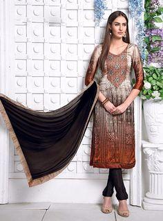 Brown Satin Churidar Salwar Kameez 79882