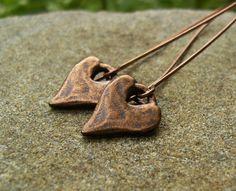 Copper Heart Earrings Simple Long Dangle Earrings by BonArtsStudio