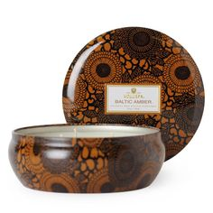 Voluspa 3 Wick Decorative Tin Candle, Baltic Amber