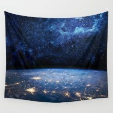 Wall Tapestry featuring Earth And Galaxy by Space99