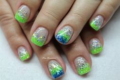 Blue glitter nails, silver nails, silver glitter, nails to go, gel Lime Nails, Lime Green Nails, Blue Gel Nails, Blue Glitter Nails, Silver Nails, Orange Nails, Purple Nails, Silver Glitter, Summer Holiday Nails