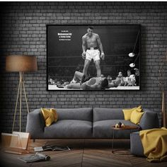 WANGART Black White Quote Poster  Magnificent Heavyweight Champion Canvas Picture Living Room Bar Office Home Decor - 40x65cm no frame