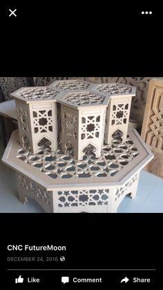 Maroc Maroc Ottoman Furniture, Small Furniture, Home Decor Furniture, Furniture Design, Moroccan Table, Moroccan Decor, Cnc Table, Cnc Cutting Design, Moroccan Design