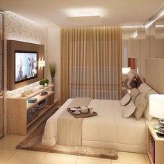 Um quarto agradável e aconchegante para descansar e assistir TV Boa noite, gente!  Confira mais dicas de Casa & Decoração no nosso site: portaltrends.com.br [link no perfil] @portaltrends #quartomeunovoapê  Foto: Reprodução/Pinterest