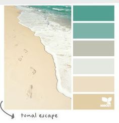 I love these colors. I would have my bedroom grey with the others as accents and the bathroom tan and teal with the grey accents  Coastal and Beach Decor: Coastal Decor Color Palette - Tonal