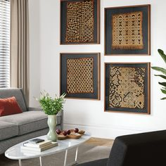Framed African Kuba Cloth Living Room - Fill your walls - Room & Board Framed Fabric, Fabric Wall Art, African Interior Design, Global Decor, Diy Home Decor Easy, Textiles, Home Accessories, Interior Decorating, Room Decor
