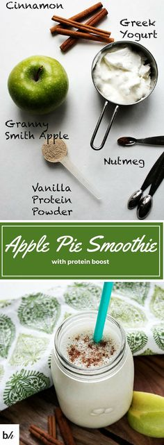 Pie Smoothie with Protein Boost Satisfy your apple pie craving with a simple, delicious protein packed apple pie smoothie.Satisfy your apple pie craving with a simple, delicious protein packed apple pie smoothie. Smoothie Fruit, Apple Pie Smoothie, Protein Smoothies, Best Smoothie Recipes, Protein Shake Recipes, Apple Smoothies, Smoothie Drinks, Breakfast Smoothies, Diet Recipes