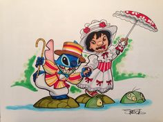 Stich and Lilo as Bert and Mary :-) Disney Kawaii, Cute Disney, Deco Disney, Disney Fan Art, Disney Crossovers, Disney Memes, Disney And Dreamworks, Disney Pixar, Disney Characters