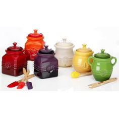 Le Creuset Stoneware Jars. I like the yellow and white...for now