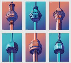Coen Pohl is an Amsterdam-based graphic designer obsessed with towers who illustrates isometric urban landscape. Isometric Shapes, Isometric Design, Shape Design, Design Art, Graphic Design, City Skyline Art, Tower Design, Eclectic Design, Vintage Microphone