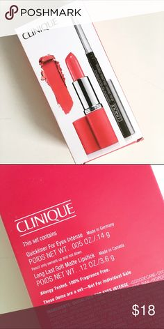 Cliniqie Quickliner + Lipstick set Brand new set in the box. For sanitary concerns I DO NOT sell used makeup. ❤️10% bundle discount. Free beauty gift with $25 purchase. Free shipping with $75 purchase. ❤️ Clinique Makeup