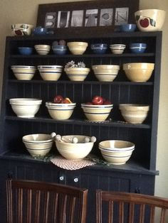 stepback cupboard with yellowware bowls Antique Stoneware, Stoneware Crocks, Earthenware, Old Pottery, Vintage Pottery, Prim Decor, Country Decor, Jelly Cabinet, Yellow Bowls