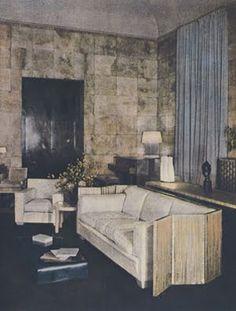 French Ar Deco: The smoking room of Charles de Noailles and Marie-Laure's hotel Bischoffsheim (on Place des Etats-Unis in Paris) by Jean-Michel Frank. Art Deco Decor, Decoration, Living Room Inspiration, Interior Inspiration, Home Living Room, Living Spaces, Art Nouveau, Art Deco Hotel, Vintage Interiors