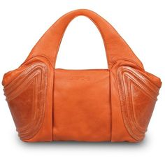 Gretchen Tango Small Tote Pumpkin Orange (£400) ❤ liked on Polyvore featuring bags, handbags, tote bags, leather purses, tote handbags, orange tote, genuine leather tote and man bag
