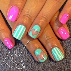 hearts by  tee__ohh  #nail #nails #nailart