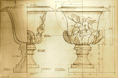 Henfeathers original Magnolia Urn Architectual Drawing henfeathers.com