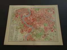 "Antique map of Rome Italy - lovely 1910 original city plan - Stadtplan Rom plattegrond de ville - vecchie mappa Roma 10x12"" (25x31c) by DecorativePrints on Etsy"