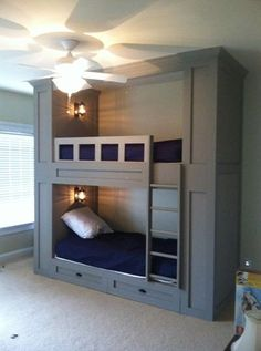 Built In Bunk Beds: would change the bottom to a full size bed with a trundle instead of drawers on the bottom