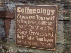 Coffeeolgy, Word Art, Primitive Wood Wall Sign, Typography, Subway Art, Handmade. $23.00, via Etsy.