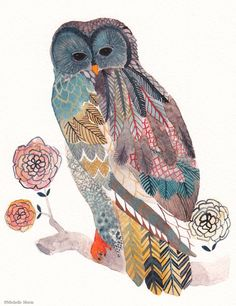 Blue Owl painting by artist Michelle Morin of Unitedthread.