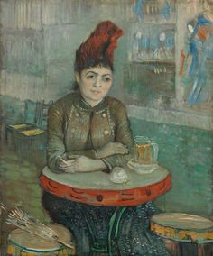 """In February-March 1887, Van Gogh organized an expo of his Japanese prints collection at Le Tambourin café in Paris owned by Agostina Segatori. You can see them in the background of this portrait. For some time Vincent had an affair with Agostina. Later that year he wrote to his brother Theo: """"I still feel affection for her and I hope she still feels some for me."""" - Vincent van Gogh, In the café: Agostina Segatori in Le Tambourin, 1887, Van Gogh Museum, Amsterdam (Vincent van Gogh Foundation)"""