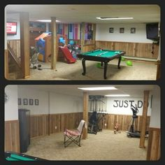 Playroom, gameroom, TV area and gym.