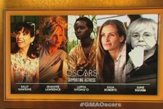 Best Actress in a Supporting Role: Sally Hawkins (Blue Jasmine), Jennifer Lawrence (American Hustle), Lupita Nyong'o (12 Years a Slave), Julia Roberts (August: Osage County), June Squibb (Nebraska)
