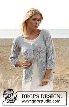 DROPS jakke i Cotton Light strikket fra toppen og nedover med riller og hullmønster.  Str S - XXXL Gratis oppskrifter fra DROPS Design.