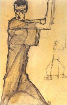 Egon Schiele (1890-1918), 1913, 'Self portrait with raised arms'.