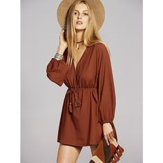 Bohemian Long Sleeve A Line Casual Dress ($14) ❤ liked on Polyvore featuring dresses, brown long sleeve dress, long sleeve dress, boho chic dresses, boho dresses and a line dress