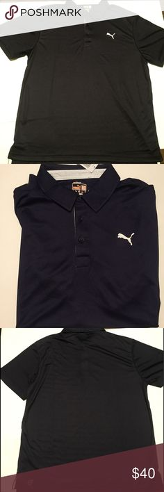 Navy blue Puma collared shirt Men's Navy blue Puma collared button up dry cell shirt, brand new with tags and in package, size large, material is great, feel free to bundle or ask questions if needed Puma Shirts